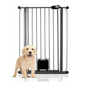 Bettacare Pet Gate with Lockable Cat Flap Slate Grey 75cm - 84cm