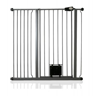 Bettacare Pet Gate with Lockable Cat Flap Slate Grey 107.4cm - 115cm