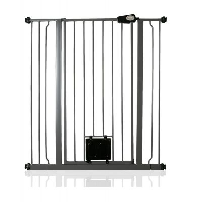 Bettacare Pet Gate with Lockable Cat Flap Slate Grey 94.3cm - 101.9cm