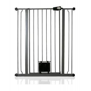 Bettacare Pet Gate with Lockable Cat Flap Slate Grey 87.9cm - 95.5cm