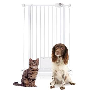 Bettacare Pet Gate with Lockable Cat Flap White 75cm - 84cm