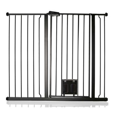Bettacare Pet Gate with Lockable Cat Flap Matt Black 113.8cm - 121.4cm