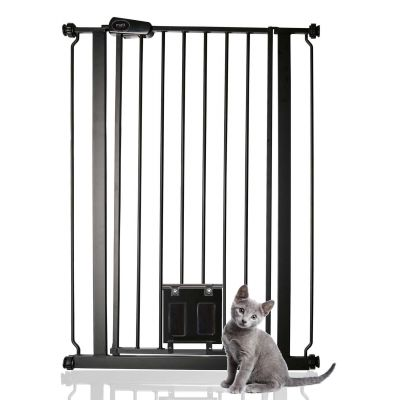 Bettacare Pet Gate with Lockable Cat Flap Matt Black 75cm - 84cm