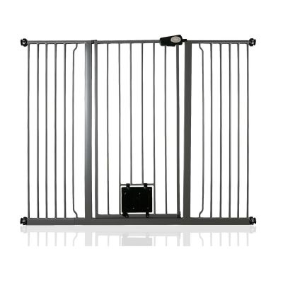 Bettacare Pet Gate with Lockable Cat Flap Slate Grey 139.8cm - 147.4cm