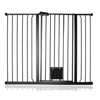 Bettacare Pet Gate with Lockable Cat Flap Matt Black 120.3cm - 127.9cm