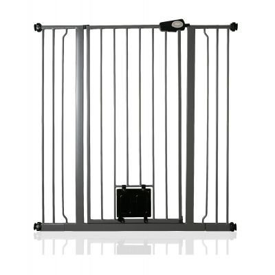 Bettacare Pet Gate with Lockable Cat Flap Slate Grey 100.8cm - 108.4cm