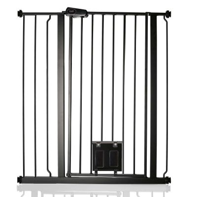 Bettacare Pet Gate with Lockable Cat Flap Matt Black 87.9cm - 95.5cm