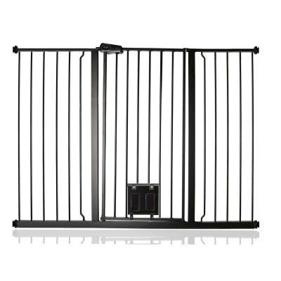 Bettacare Pet Gate with Lockable Cat Flap Matt Black 133.2cm - 140.8cm