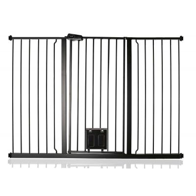 Bettacare Pet Gate with Lockable Cat Flap Matt Black 139.8cm - 147.4cm