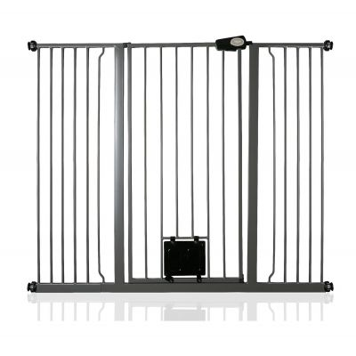 Bettacare Pet Gate with Lockable Cat Flap Slate Grey 133.2cm - 140.8cm