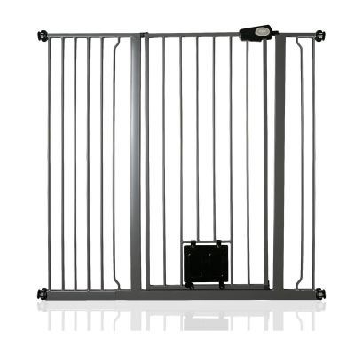 Bettacare Pet Gate with Lockable Cat Flap Slate Grey 113.8cm - 121.4cm