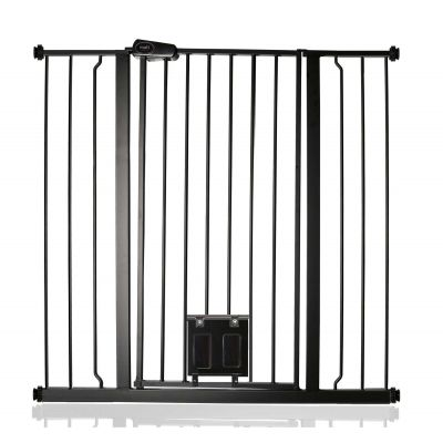 Bettacare Pet Gate with Lockable Cat Flap Matt Black 100.8cm - 108.4cm