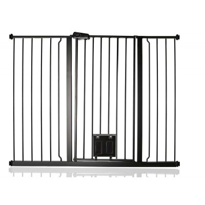 Bettacare Pet Gate with Lockable Cat Flap Matt Black 126.7cm - 134.3cm