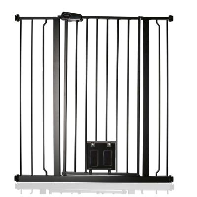 Bettacare Pet Gate with Lockable Cat Flap Matt Black 94.3cm - 101.9cm