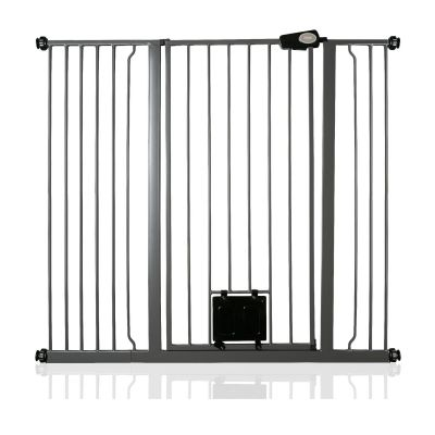 Bettacare Pet Gate with Lockable Cat Flap Slate Grey 120.3cm - 127.9cm