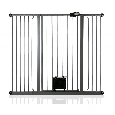 Bettacare Pet Gate with Lockable Cat Flap Slate Grey 126.7cm - 134.3cm