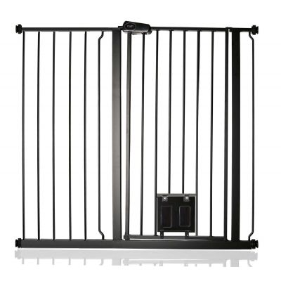 Bettacare Pet Gate with Lockable Cat Flap Matt Black 107.4cm - 115cm