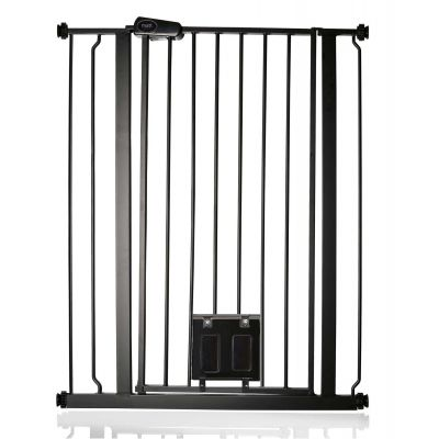 Bettacare Pet Gate with Lockable Cat Flap Matt Black 81.4cm - 89cm