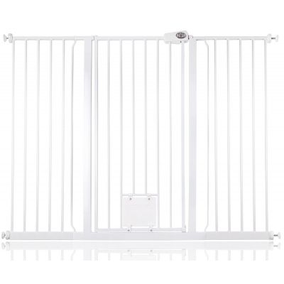 Bettacare Pet Gate with Lockable Cat Flap White 139.8cm - 147.4cm